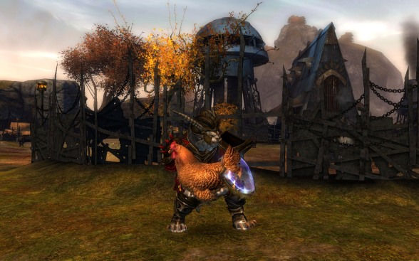 That's the biggest damn chicken I ever saw... I guess the Charr need fairly hefty livestock to feed their appetites.