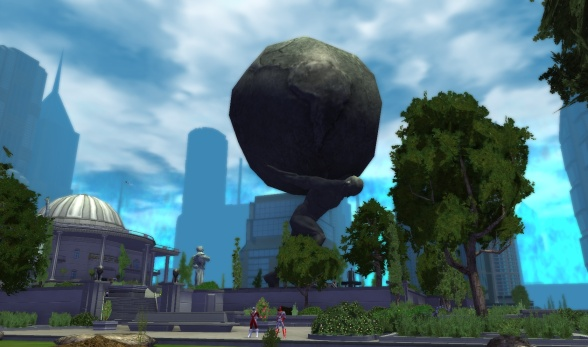 The most iconic image of City of Heroes - the statue of Atlas