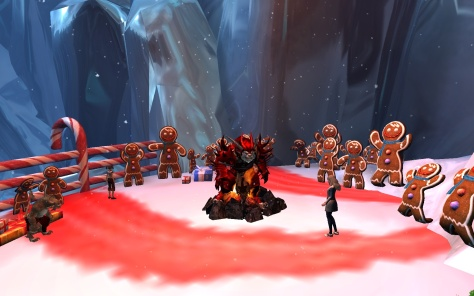 Gingerbread celebrations are more sinister amidst a roasting Charr in a firepit (or a Khornate demon summoning)