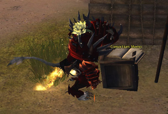 Somehow the incongruity of this tickles the hell out of me. Brave macho Blood Legion charr with a flower on his back. Maybe growing OUT of his back. Parasitic infections ftw.