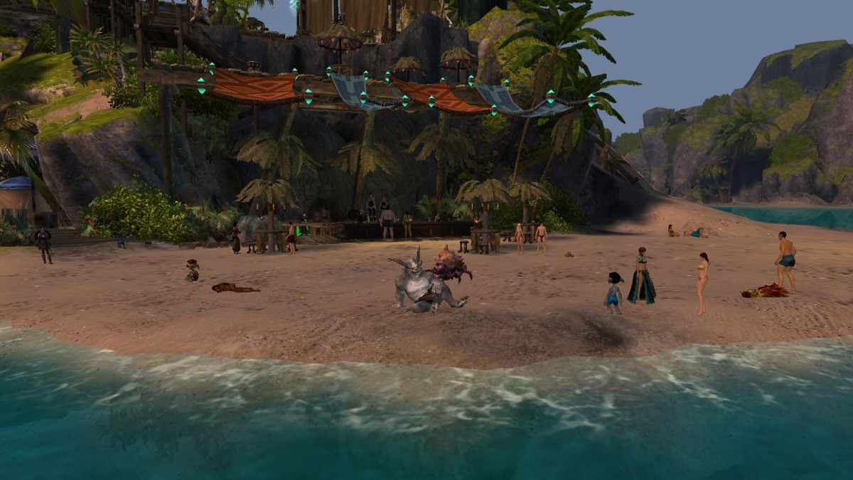 I think the crab has evil designs... (There are two female Norn players bar-top dancing in the background. Don't you love Tarnished Coast?)