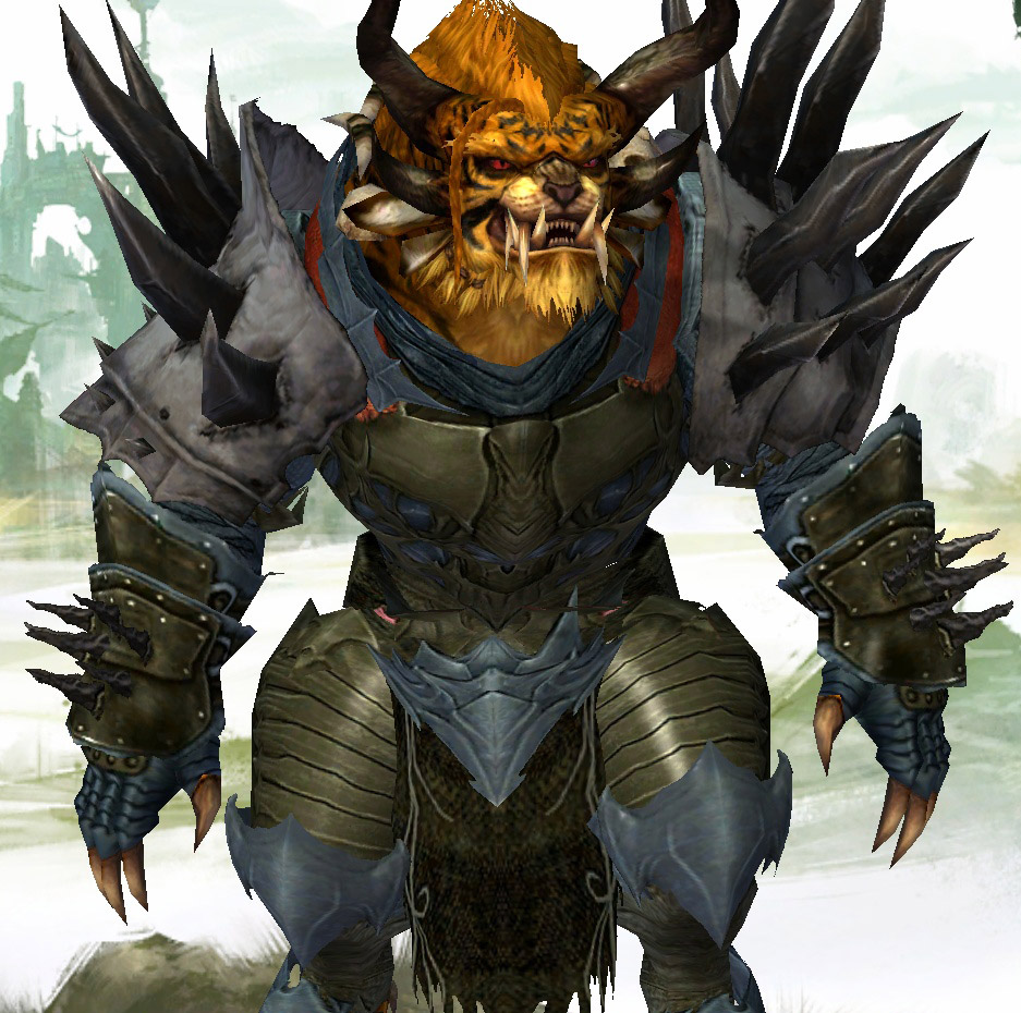 """Decided my experimental armor was decent enough for normal dungeon running to warrant splurging on cheap cultural armor and dyes and non-cheap transmutation crystals. Played around with Iron Legion colors. Who knew Gunmetal was blue?! Had to look up a forum post for suggested dye colors. Some day in the near future, I want a """"proper"""" berserker set to try that out too."""