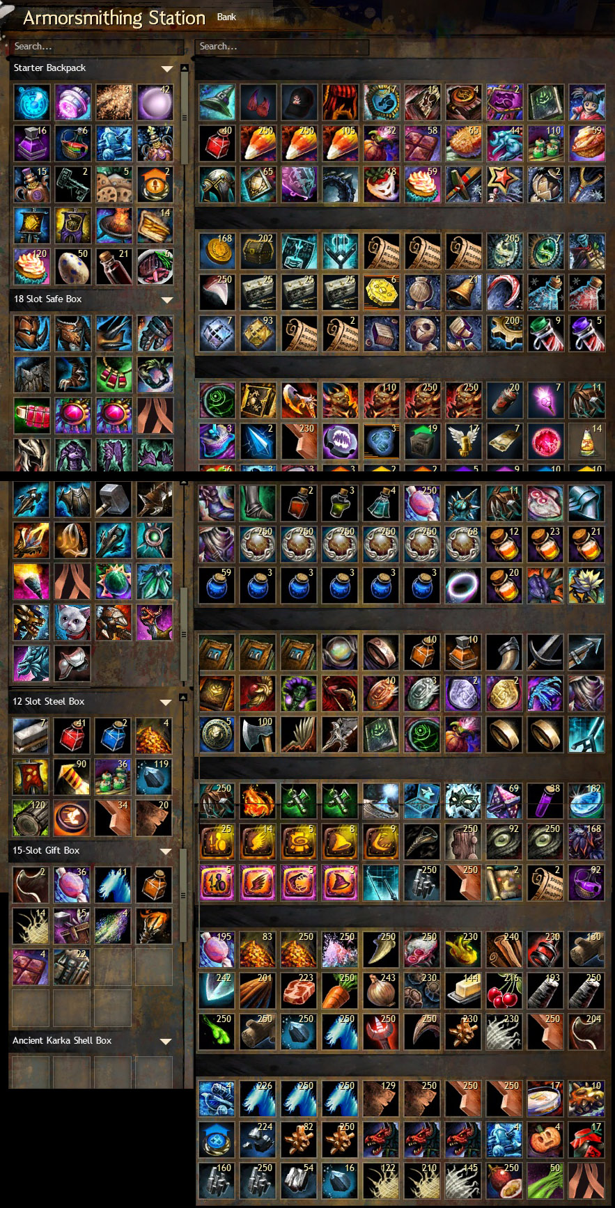 It's so totally not happening. I did decide to spend 20 gold from all that AR running on my personal guild to open out a 100 slot storage. Maybe that'll help if I can muster up the courage to attempt the task.