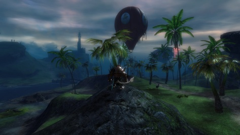 First glimpse of a balloon was glorious. I left the reset graphics settings at crash-prone and lucked into one that was being attacked by an Aetherblade airship.
