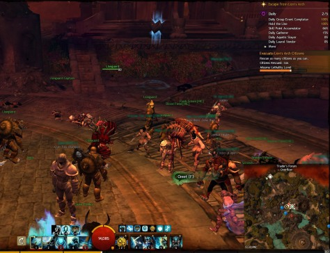 Okay, so this is a lousy screenshot of a not very big zerg. I'm carrying a loot stick (guardian staff) though! In my defence, too busy spamming 1 during the really good mob spawns to worry about screenshots.